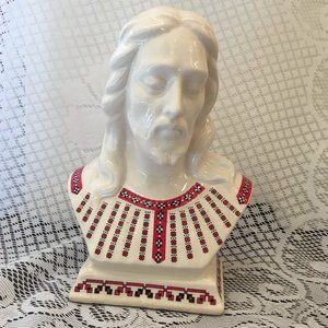 Ukrainian Red and Black Decals on Jesus Bust (2569